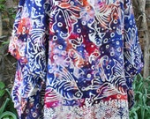 LAST CHANCE was 17.00 Indonesian fish batik coverup cover up beach sun dress free size