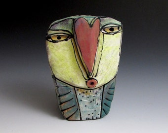 """Owl, Owl art, Clay owl, clay sculpture, """"Owl Person Singing Love into Being"""", 4.75"""" tall"""