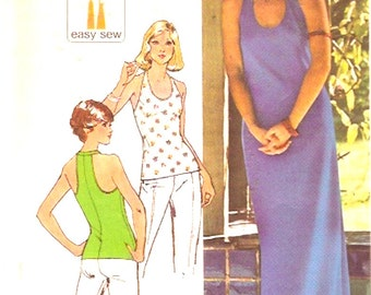 70s Knit dress Hippie hipster festival summer style vintage sewing pattern Halter neck Simplicity 6443 Size 10