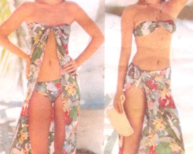 70s vintage bikini and coverup swimsuit bathing suit Resort wear sewing pattern Butterick 5438 Medium