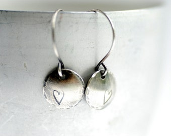 Heart Earrings, Stamped Silver Earrings, Heart Jewelry, Silver Disc Earrings, Simple Dangle Earrings, Hammered Silver, Romantic Earrings