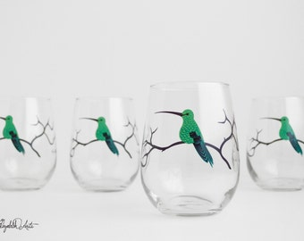 Hummingbirds Stemless Wine Glasses - Set of 4 Hummingbird Glasses - Mother's Day Glasses, Hummingbirds, Hummingbird Glass