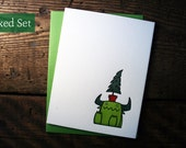 Letterpress Christmas Tree Monster Cards - Boxed Sets
