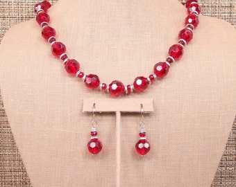 Scarlett - Bold Cherry Red Faceted Crystal and Bali Silver Necklace With Earrings.