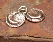 Two Rustic Moon Charms in Sterling Silver D177