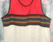 Vtg Mod Hipster Rainbow, Red n White Mesh Tank Top from Mervyn's - Very Clean Like New Condition.