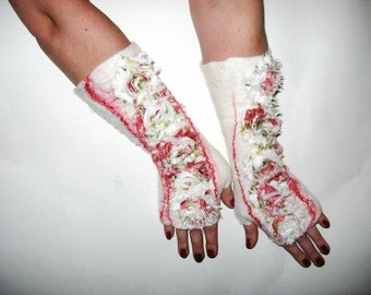 FELTED GLOVES Fingerless Mittens Wool Felt Floral wrist warmer Red and White