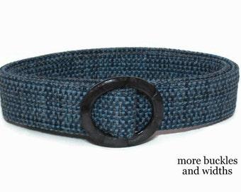 Blue Belt Womens Woven Belt Cloth Belt D-ring Belt Wide Belt Narrow Belt /Blue Woven Ladies Belt small to plus size