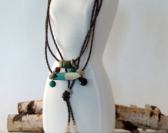 Turquoise Necklace Boho Tassel Necklace Long Necklace Bohemian Necklace Layering Necklace Statement Necklace Boho Jewelry Gift For Her