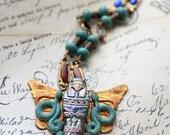 Egyptian Necklace, Egyptian Revival Style Jewelry, Egyptian Mummy, Art Deco Necklace, Raku Sarcophagus Necklace, Snake Necklace, SRAJD