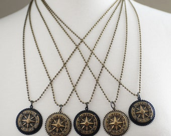 Compass Necklace, Nautical Necklace, Wanderlust, Traveler, Long Compass Necklace, Graduation Gift, Antiqued Brass Compass Jewelry, SRAJD