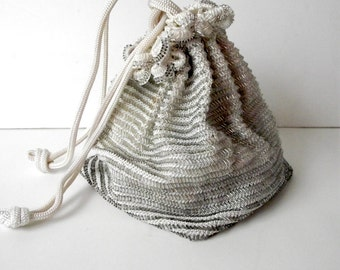 Mid Century Beaded Purse in Creamy White and Silver Crocheted Mesh Miles Japan