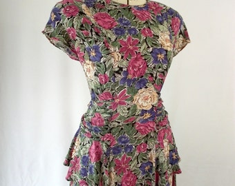Rayon Floral Peplum 1980's Bombgirl Style Dress 40's Revival Medium Mauve and Violet