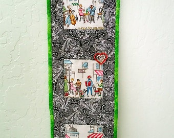 Retro Paris Quilted Wall Art Hanging, Street Scenes + Free Glasses Case