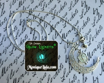 Cat Crescent Moon Glowing Orb Necklace with Free UV Light Charger
