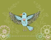 MY LITTLE BIRD Soars Inspiring Back to School Quote Print of Original Whimsical Bird Illustration