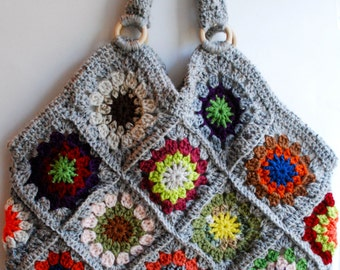 Purse, weekend bag, granny square bag, tote bag, crochet