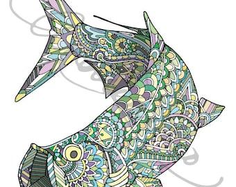 """Zentangle Tarpon Art Print 8.5""""x11"""""""