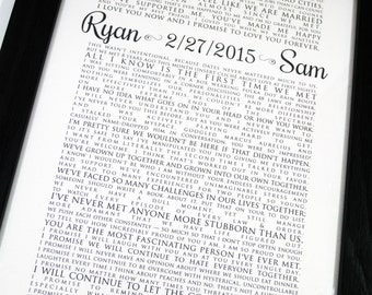 FRAMED Wedding Vow Art, One Year Anniversary, Personalized Gift, Wedding Vows, Framed Wedding Keepsake, Typography Wall Art - Vertical #1503