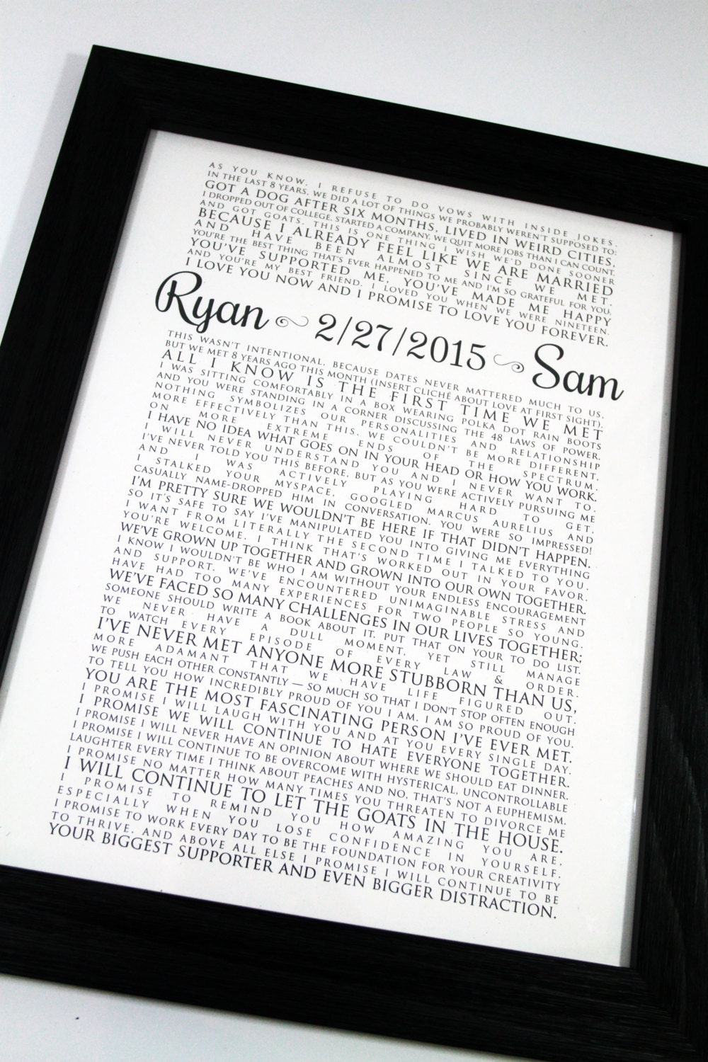 FRAMED Wedding Vow Art One Year Anniversary Personalized