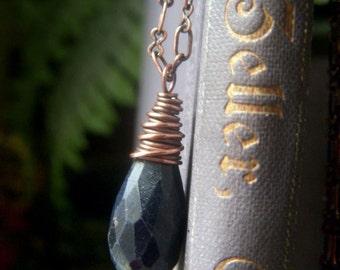 Genuine Sapphire Necklace, Rustic Copper Necklace, Navy Blue Necklace, Sapphire Pendant, Oxidized Copper Necklace, Real Sapphire Gemstone