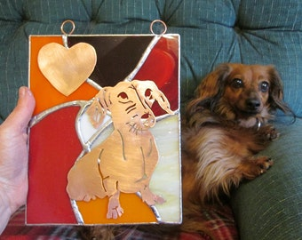 Stained Glass Panel Suncatcher with Rescue Dog - Art Glass with Copper - Red, Orange, Yellow