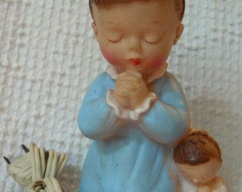 Vintage Nursery Night Light - Little Girl with Her Doll Kneeling to Pray by Bonneytex Co. - so sweet