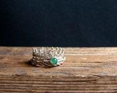 Crown Ring Chrysoprase Stacking Rings Green Ring Sterling Silver Gemstone Ring