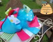 Layered Turquoise and Lime Loopy Bow -HUGE Funky Frilly Bow-Southern Style Girls Hairbow with blue marabou puff RTS, Bows for Girls, OTT Big