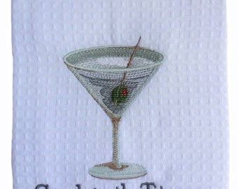 Martini Towel Custom Embroidered and Personalized