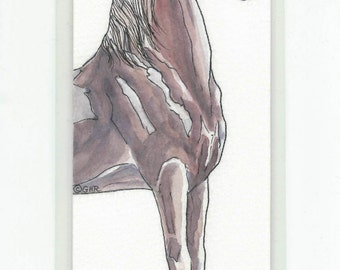 Saddlebred Horse Original Art Bookmark in Watercolor & Ink