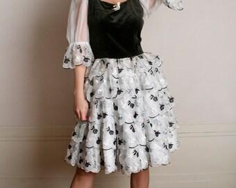 Vintage Lolita Dress - Black and White Velvet Flower Ruffle Party Dress - Medium