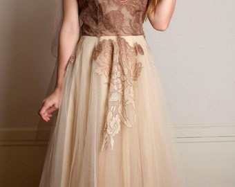 Vintage 1950s Prom Dress - Soft Cocoa Brow Tulle Gown - Medium
