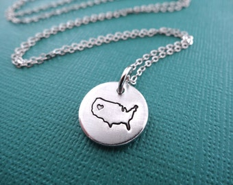 United States Necklace - United States of America Pendant Necklace - American Charm - Small Pendant