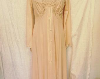 Vintage 1980s Maidenform Dreamwear Blush Pink Peignoir Set Size 8