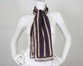 SALE - Anne Klein 1970's Vintage Deadstock Long Wool Striped and Dotted Signed Scarf
