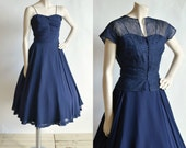 1950s Nat Tumar Dress --- Vintage Navy Party Dress