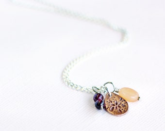 triple pendant and chain set, copper, garnet and moonstone on sterling silver chain, atheia