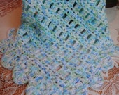 Crochet Baby Doll Blanket Afghan Scallop edge Square 20 1/2 inches KBA05 Boy  Blue Green white