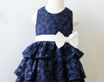 Navy Lace Flower Girl Dress, Vines