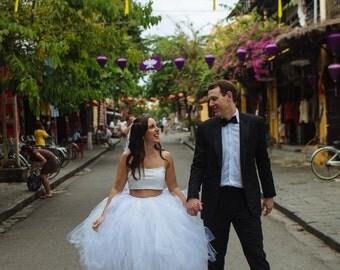 Adult Tulle Skirt Wedding Tutu in Ivory and White Wedding Tutu  Destination Wedding