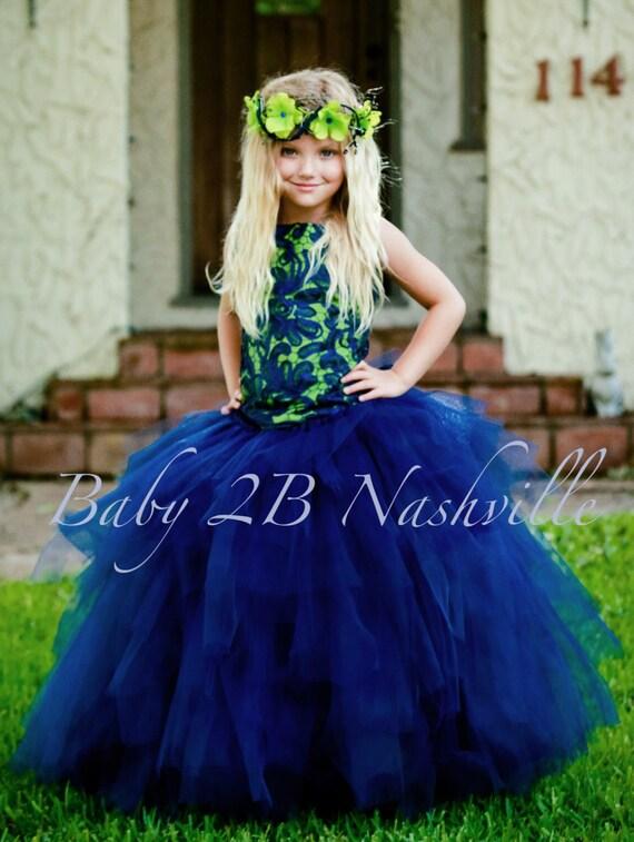 Navy Dress Apple Green Dress Wedding Dress Flower Girl Dress Lace Dress Tulle Dress Toddler Tutu Dress Girls Tulle Dress Party Dress