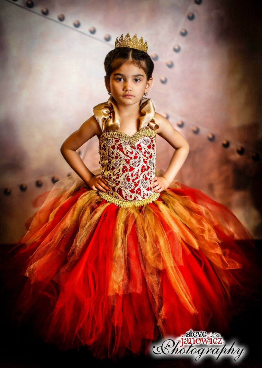 Red Dress Gold Dress Wedding Dress Flower Girl Dress Princess