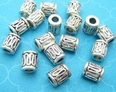 9 Tube Beads, Bali Style, Silver Plated, Drum Beads, Cylinder Beads, 6mm Beads , Spacer Beads, 3mm Hole, Silver Beads, DIY Jewelry - TS296B