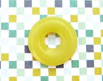 20mm New Jade, Donut Bead, Pi Bead, Bagel Bead, 20mm Donut Bead, Yellow Serpentine, Yellow Gemstone, Focal Bead, DIY Jewelry - Lt2