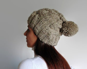 Beige Wool Pom Pom Beanie, Chunky Knit Bobble Hat, Winter Cables Knit Pompom Beanie, Stocking, Hand Knitted, Wool Womens Beanie, Mens Hat