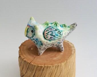 Ceramic Owl Creature Figurine Owlasaurus