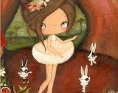 Ballerina Art Print Crackled Ballet Bunny Wall Art Room Decor Girl Dancing Forest