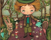 The Mad Hatter Original Painting Cute Mad Tea Party Fairy Tale Wall Art 8 x 10 Mad Tea Table