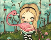 Alice In Wonderland Print Cute Alice and Flamingo Fairy Tale Wall Art--- Croquet Rescue